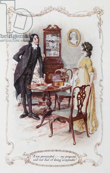 """""""I was persuaded ,,, my proposals will not fail of being acceptable"""", Mr Collins and Elizabeth Bennet, illustration to 'Pride and Prejudice' by Jane Austen, 1907 (colour litho)"""