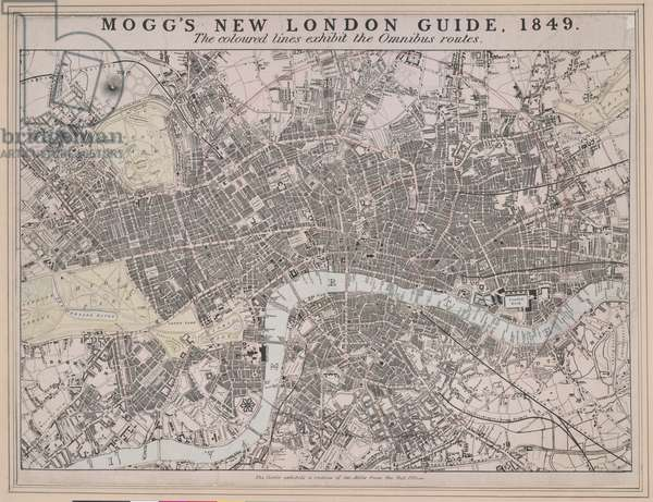 Mogg's new London guide, 1849 : the coloured lines exhibit the omnibus routes