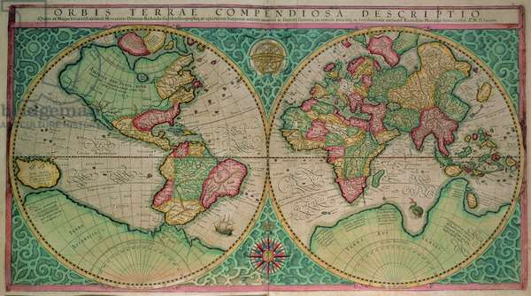 Map of the world, from the 'Atlas sive cosmographicae..' published 1595 (coloured engraving)