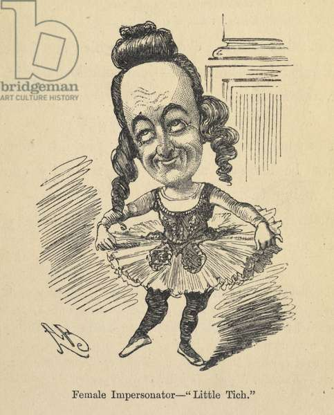 """""""Female impersonator - Little Titch."""" from 'Music-Hall Land: an account of the natives... of that strange country... With... illustrations, etc.' by Percy Hetherington Fitzgerald, 1890 (engraving)"""