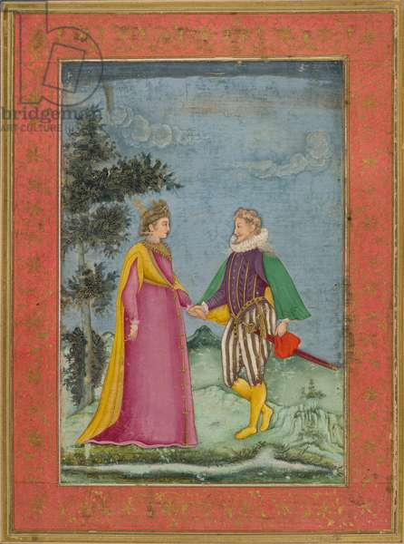 European gentleman and lady, dressed in Elizabethan Costume, illustration from 'Dara Shikoh', c.1630-40 (watercolour & gold on vellum)