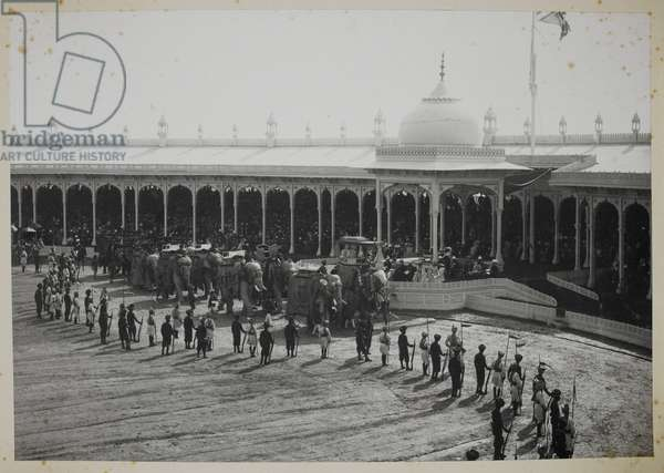 Retainers' Review at the Delhi Durbar: state elephants marching past the Viceregal dais (b/w photo)
