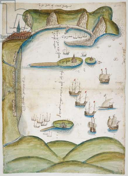 Coloured manuscript plan of Jersey Harbour