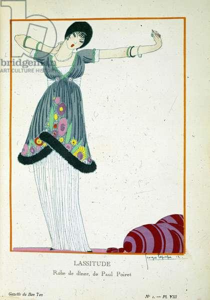 "a young woman stranded lazily. Plate from ""Gazette du Bon Ton. Art, fashion and frivolites"", London 1912 (engraving)"
