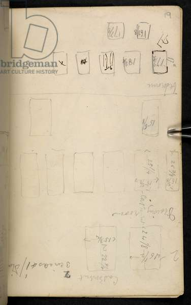 Sketches, drawings, plans, and notes, mainly connected with the designing and artistic work of Morris, Marshall, Faulkner and Co., founded April 1861, of which Morris was manager and one of the most active designers, Add MS 45336 f.19r (pencil on paper)