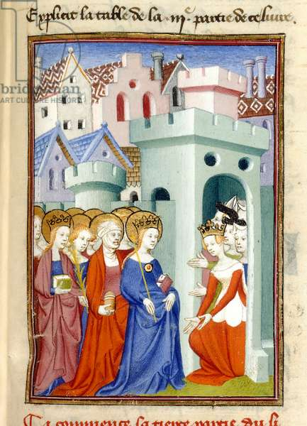 Justice, the Virgin and Saints, MS Harley 4431, f.361r, France, c.1410-14 (colour on parchment)