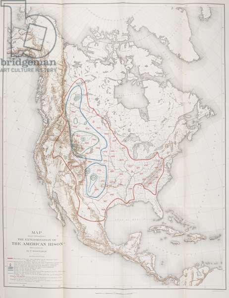Map Illustrating the Extermination of the American Bison, 1899 (engraving)