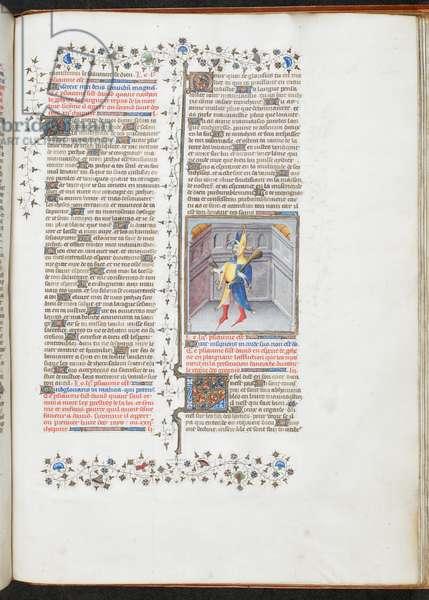 Royal 19 D III, f.266, The Fool, 1411 (vellum)