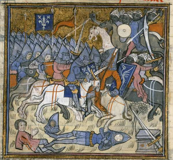 Add. 15269, f.124v Crusaders fighting Saracens, illustration from the 'Chroniques de France ou de St Denys' (ink, colour & gold on vellum)