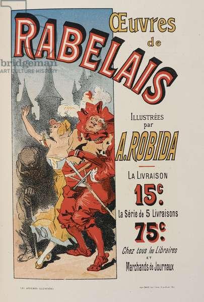 Oeuvres de Rabelais, 'Les affiches illustrées. Ouvrage orné de...', by Ernest Maindron, 1886 (colour litho)