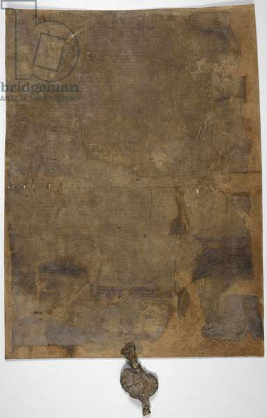 Magna Carta, burnt copy with seal attached, perhaps that dispatched to Canterbury (15th June 1215)