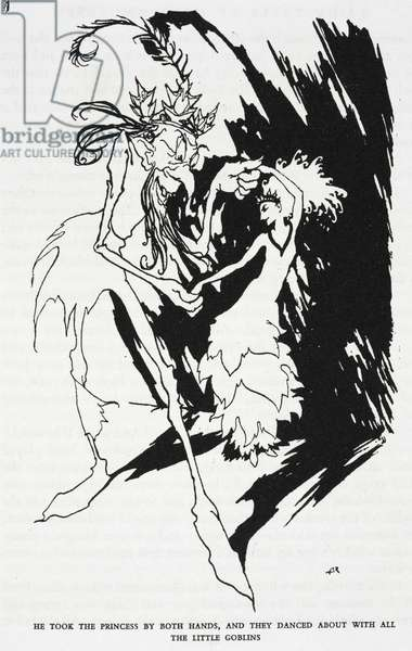 """""""He took the Princess by both hands, and they danced about with all the little goblins"""", illustration from 'The Travelling Companion' by Hans Christian Andersen (litho)"""