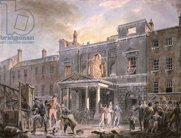 A Fire at the Royal Opera House (coloured print)