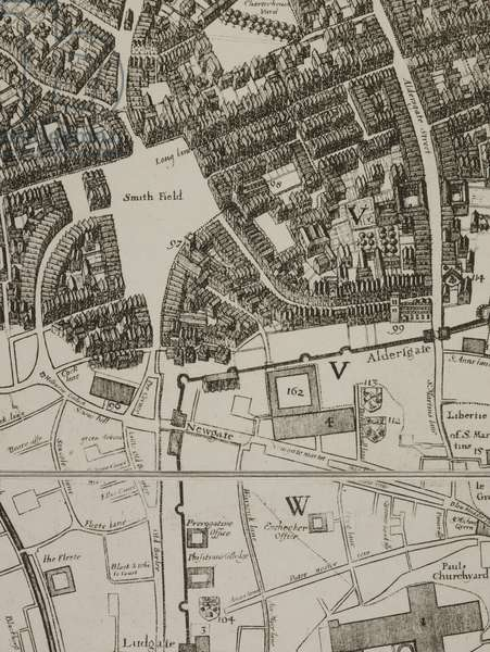 A detail of a map of the area around Smithfield, Ludgate, and Aldersgate from a close study of the ruins of the city of London after the Great Fire of London, 1666.