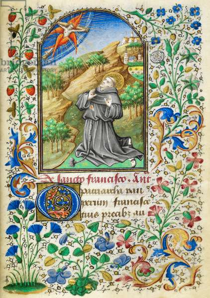 Miniature of Francis of Assisi kneeling in a landscape, receiving the stigmata; above is a seraphic Christ, with a full foliate border, at the beginning of his suffrage