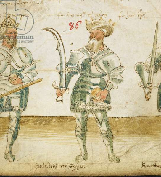 [Detail from roll] Sixth age; No. 86. Illustration of Saladin, holding a scimitar