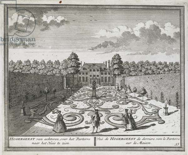 View of the gardens at Hogergeest near Velsen, with figures strolling among parterres and armillary sphere in the foreground and rear façade of the house in the background; inscribed with plate number and title below.