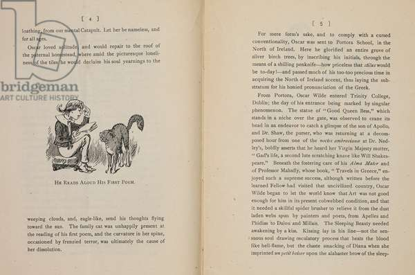 He reads aloud his first poem'. A caricature of Oscar Wilde, as a boy, with a cat.