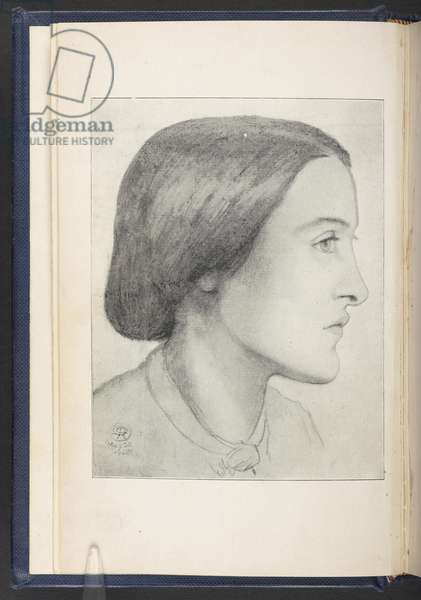 Portrait of Christina Rossetti, frontispiece to 'Pre-Raphaelite Diaries and Letters' by William Michael Rossetti, 1900 (litho)