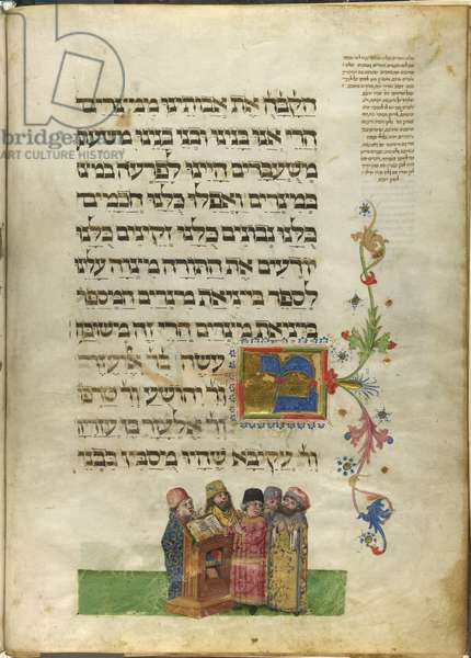 Five Rabbis at Bnei Brak, from the 'Ashkenazi Haggadah (Feibusch Haggadah)', c.1460-75 (vellum)