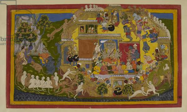 Aṅgada is captured by the titans and brought before Rāvaṇa; he delivers Rāma's message about the demon king's inevitable defeat and his offer of single combat. Enraged, Rāvaṇa orders that he be put to death, but Aṅgada breaks free (top right) and creates havoc among the demons, before escaping over the wall and back to Rāma, where he bows before him on the left.