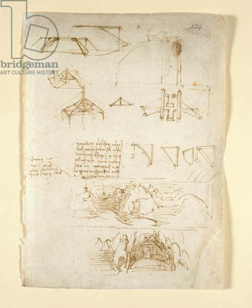Arundel 263, f.224 Notes and diagrams; sketches of mountains and a cave, from 'Codex Arundel' (pen & ink on paper)