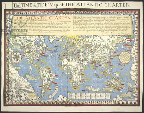 Time and Tide Map of the Atlantic Charter, 1942 (colour litho)