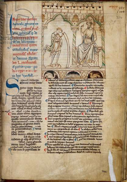 Cotton Claudius B. VII, f.224 The Boy Merlin prophesying before King Vortigern, illustration from 'Prophecies of Merlin', by Geoffrey of Monmouth, c.1250 (vellum)