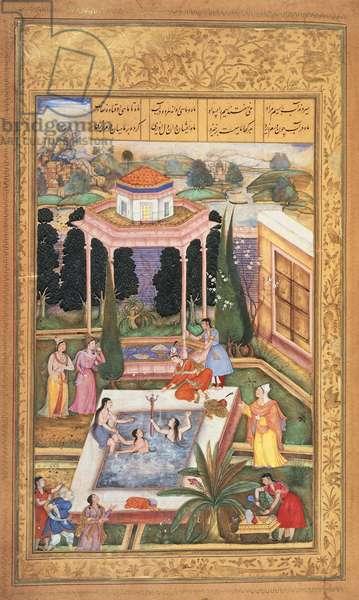 Or 12208 fol.220 Maidens Bathing, from Nizami's Khamsa, 1595 (vellum)