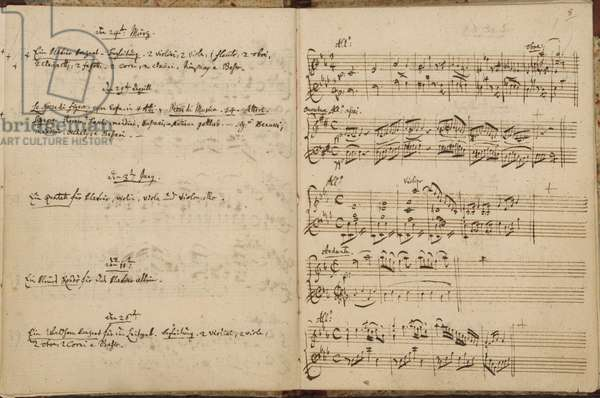 Mozart's Thematic Catalogue, Zweig 63, ff.7v-8, 1784-91 (ink on paper)