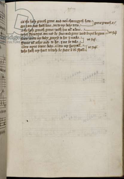 Add MS 31922, f. 38, Henry VIII's 'Green Groweth the Holly' (vellum)