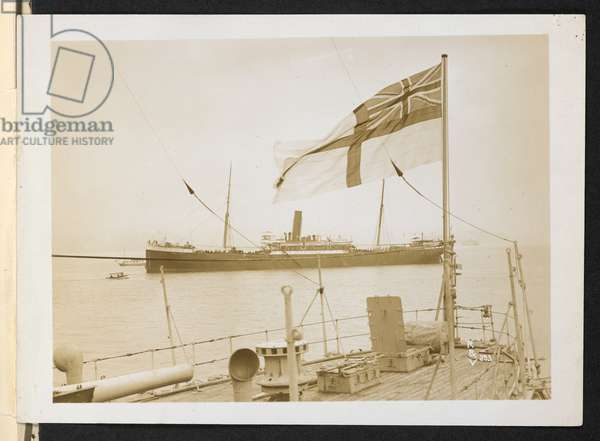 S.S. 'Komagata Maru' from aft deck of H.M.C.S. 'Rainbow.', Port beam view of the 'Komagata Maru,' at anchor at Vancouver, 1914 (b/w photo)