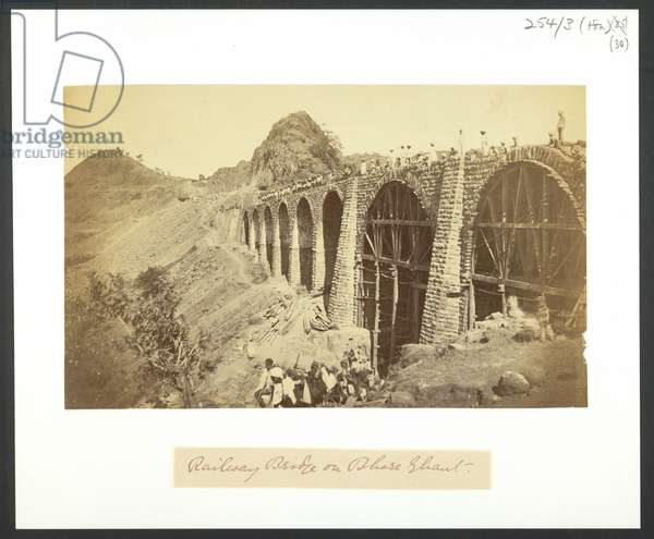 Railway Bridge on Bhore Ghaut, 1855 (b/w photo)