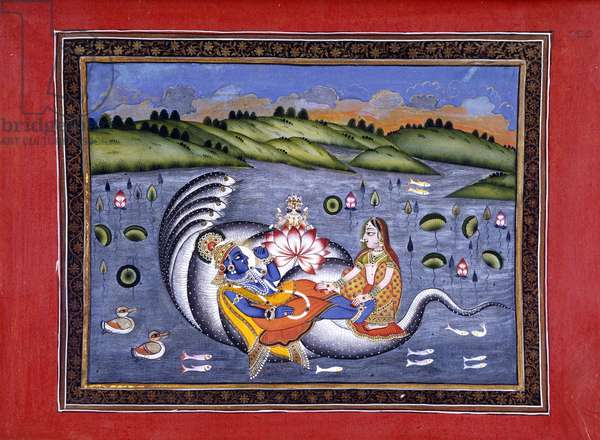 Vishnu and Lakshmi, illustration from 'The Bhagavatapurana. (Purana of the Blessed Lord)' by Kalurama, 1806 (w/c and gold on paper)