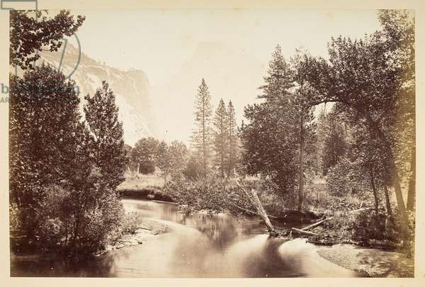 View towards Half Dome, with river in foreground, Yosemite Valley, 1865-70 (b/w photo)