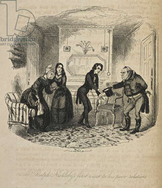 Illustration with the title 'Mr. Ralph Nickleby's first visit to his poor relations'.