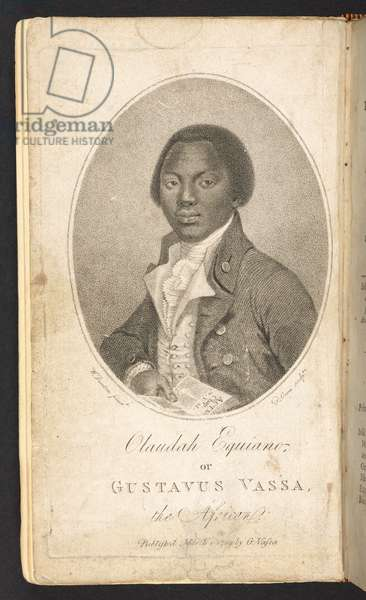 Frontispiece portrait of Olaudah Equiano, from 'The Interesting Narrative of the Life of Olaudah Equiano, or Gustavus Vassa, the African, Second edition, [With a portrait]', 1789 (engraving)