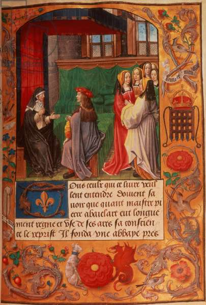 Roy 16 F II f.137 Abbess and her pupil surrounded by a group of ladies listening, from 'Letters of Abbess Heloise', c.1500 (vellum)