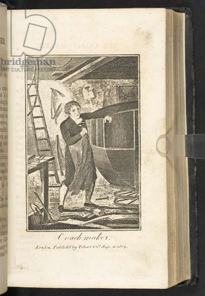 "Coach maker, from ""The book of English trades, and library of the useful arts. With ... engravings. A new edition enlarged, with ... questions, etc."", 1806 (engraving)"