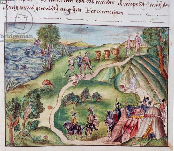MS Add.15217 fol.40  A Venezuelan landscape with a Spanish encampment, from a collection of memoirs of the Coeler Family, Nuremberg, 1560-1632 (gouache on paper)