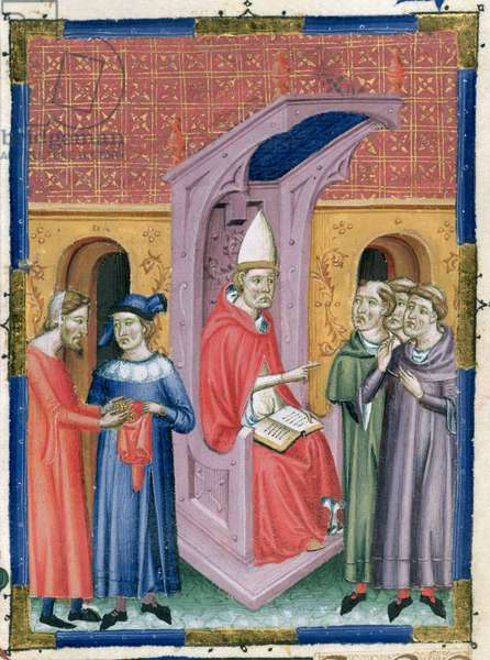 Add 15274 f.201v Layman placing offerings in a bag for the Bishop and clergy, Italy, 14th century