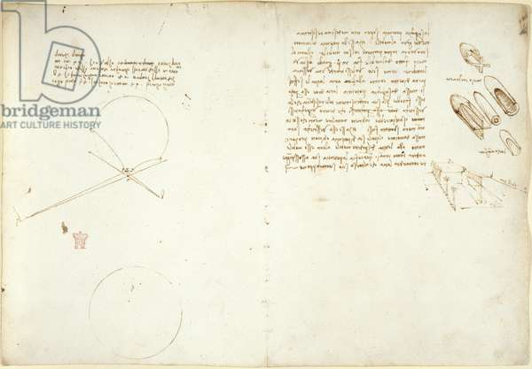 Arundel 263, f.49v, f.54 Notes and diagrams on optics, concerning Alhazen's problem, c.1500-5 (pen & ink on paper)
