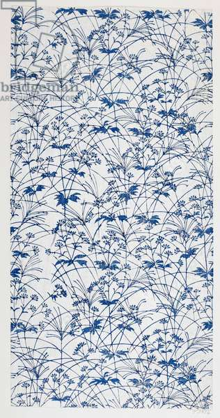 Blue floral design, illustration from 'The Olga Hirsch collection of decorated papers' (colour woodblock print)