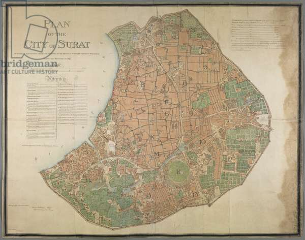 Plan of the City of Surat, 1817 (coloured engraving)