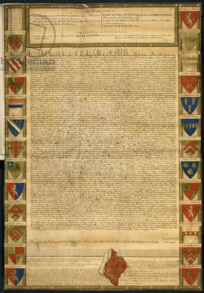 Coloured facsimile copy of the Magna Carta, now catalogued as Cotton Charter XIII.31a, published following the Ashburnham fire of 1731, framed with shields bearing the arms of the barons, and authenticated by the trustees, etc. of the Cottonian Library.