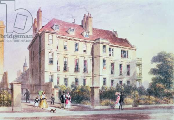 Entrance to Queen Square from the Park, with a view of Jeremy Bentham's House, 1851