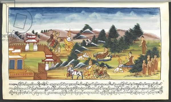 Mss Burmese 202, f.11 Deities in a landscape, from 'Buddha's Birth Stories' (w/c on paper)