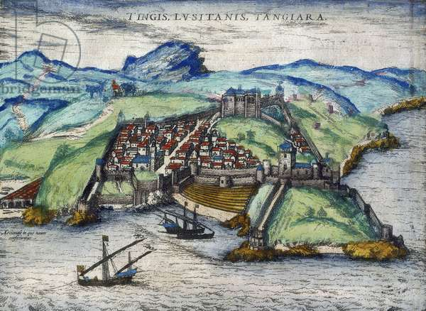 "Vue de la ville fortifiee de Tanger et de la cote, Maroc. Trois navires sont ancres pres du littoral. In """"Ciuitates orbis terrarum Liber primus"""", par Georgius Braun and franz Hohenberg, Cologne 1582. British Library. Tangiers, 1582. A view of a walled city on a rugged, rocky coastline. Three ships are at anchor just offshore. From: """"Ciuitates orbis terrarum Liber primus"""", by Georgius Braun and Franz Hohenberg. (Cologne, 1582) ©The British Library Board/Leemage"