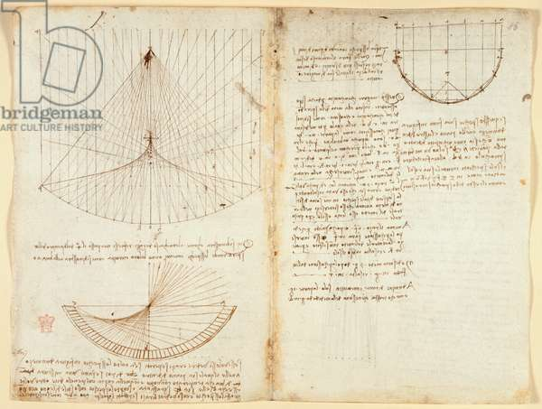 Arundel 263 f.87v, f.86 Notes and diagram on optics, concerning the caustics of reflection, c.1503-5 (pen & ink on paper)