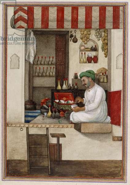 'Gandhi', a caste of perfumers or druggists, from 'Tashrih al-aqvam', 1825 (w/c on paper)